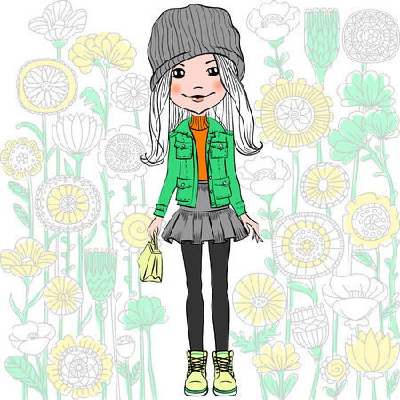Cute fashionable hipster girl and pattern of doodles and flowers. T-shirt Graphics. Girl print.