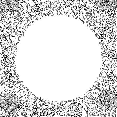 black swirls: black and white floral pattern of spirals, swirls, doodles