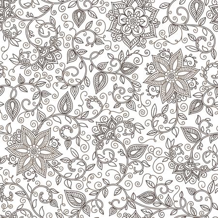 lijntekening: naadloze zwart-wit patroon van spiralen, wervelingen, krabbels