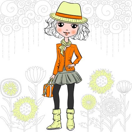femme dessin: Cute girl hipster mode dans un chapeau et modèle de griffonnages et des fleurs. T-shirt graphique. print Fille.