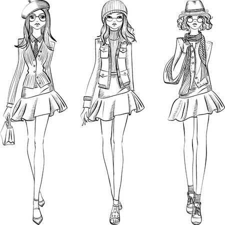 alluring: Cute fashionable hipster girls in jackets, skirts and caps with bags. T-shirt Graphics. Girl print. Illustration
