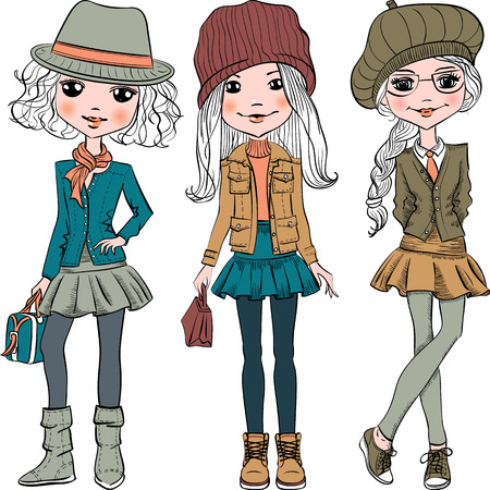 fashionable: Set cute fashionable hipster girl in hats, jackets and skirts with bags. T-shirt Graphics. Girl print.