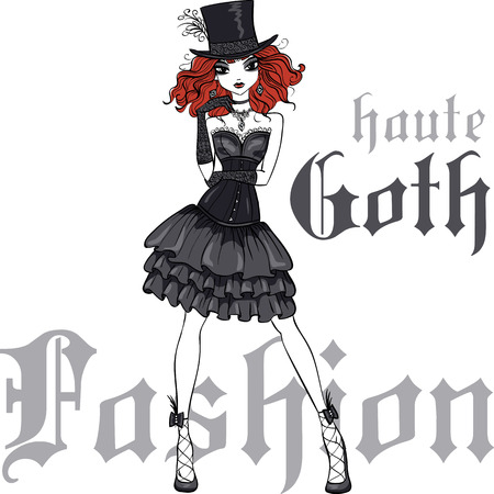 femme: Goth girl with scarlet hair dressed in the style of High Gothic fashion in black dress and silk hat. T-shirt Graphics. Girl print. Illustration