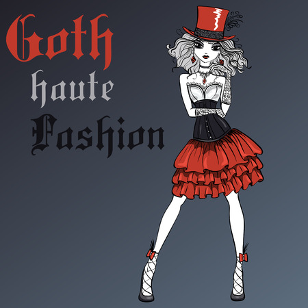 femme: Goth girl dressed in the style of High Gothic fashion in black and scarlet dress and silk hat. T-shirt Graphics. Girl print. Illustration