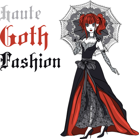 femme: dressed in the style of High Gothic fashion in black dress with black umbrella. T-shirt Graphics. Girl print.