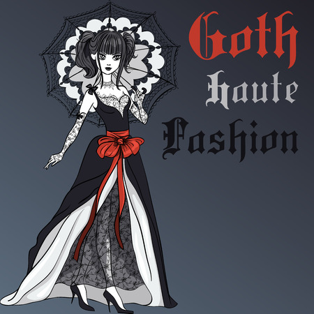 femme: Goth girl with scarlet hair dressed in the style of High Gothic fashion in black dress with black umbrella. T-shirt Graphics. Girl print. Illustration