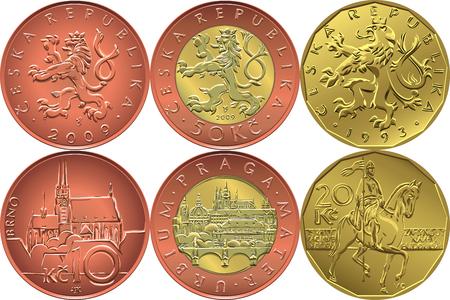 Impostare inversa e dritto il ceco soldi dieci, venti e cinquanta crones monete Vettoriali