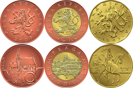 Set reverse and obverse czech money ten, twenty and fifty crones coins