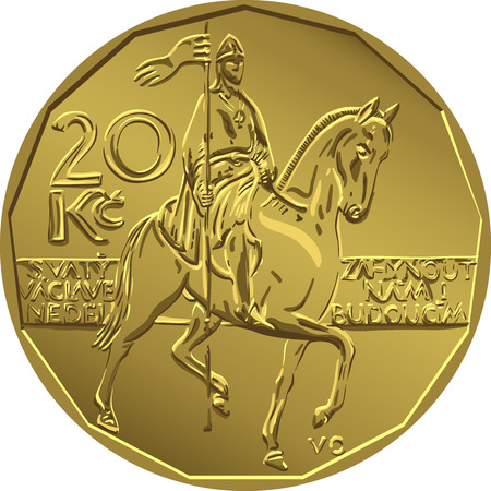 reverse: Gold money, reverse of the coin twenty czech crones with figure 20 and a sign of the crown to the left of the stylized image of the equestrian statue of St Wenceslas on Wenceslas Square in Prague