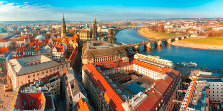 old bridge: Aerial scenic panorama of the Old Town of Dresden: river Elbe with Augustus Bridge, Hofkirche and Royal Palace, Saxony, Germany