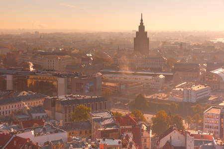 sciences: Aerial view backlit of Old Town with Latvian Academy of Sciences in the morning, Riga, Latvia