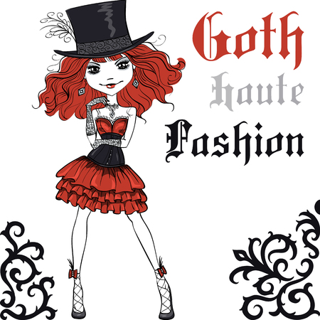 hair style fashion: Goth girl with scarlet hair dressed in the style of High Gothic fashion in black and scarlet dress and silk hat. T-shirt Graphics. Girl print. Illustration