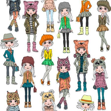 fashionable: Seamless background with cute fashionable hipster girl in in funny hats with muzzle cat, panda and owl, jackets and skirts with bags. T-shirt Graphics. Girl print.