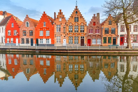 house gables: Scenic city view of Bruges canal with beautiful medieval houses, Belgium