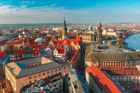 Royal Palace: Aerial view over Hofkirche, Royal Palace and roofs of old Dresden, Saxony, Germany