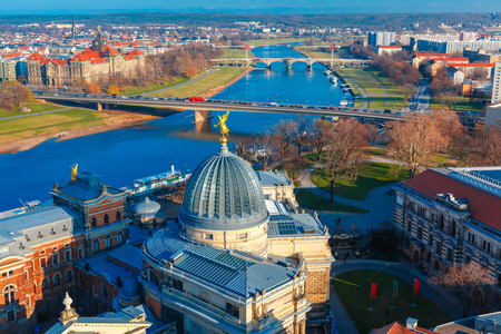 fine arts: Aerial view over river Elbe, bridges and glass dome of Academy of Fine Arts or Lemon Squeezer, Dresden, Saxony, Germany