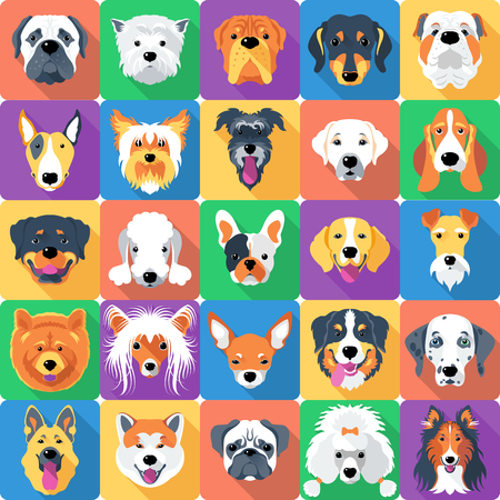 seamless background with dogs icon flat design