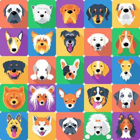 Plano de fundo sem emenda com design plano de ícone de cães Foto de archivo - 53077816