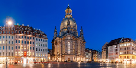 frauenkirche: Panorama of Lutheran church of Our Lady aka Frauenkirche with market place at night in Dresden, Saxony, Germany