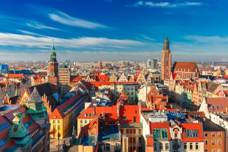 Aerial view of Stare Miasto with Market Square, Old Town Hall and St. Elizabeths Church from St. Mary Magdalene Church in Wroclaw, Poland Stock Photo
