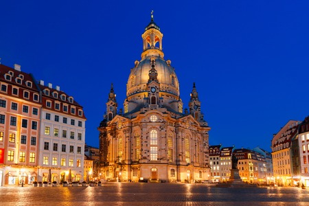 the church of our lady: Lutheran church of Our Lady aka Frauenkirche with market place at night in Dresden, Saxony, Germany