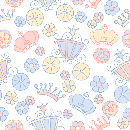 queen of diamonds: Hand drawn seamless pink and blue pattern of little princess doodles. Background for use in design, web site, textile.  T-shirt Graphics. Girl print.