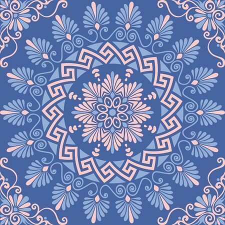 meander: Traditional  seamless vintage pink, white and blue round floral Greek ornament, Meander
