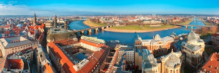augustus: Aerial scenic panorama of the Old Town of Dresden: river Elbe with Augustus Bridge, Hofkirche and Royal Palace, Saxony, Germany