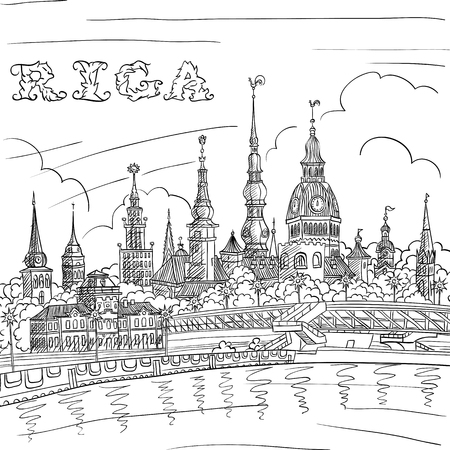 east river: Vector Black and white hand drawing, sketch of Old Town and River Daugava, Riga, Latvia