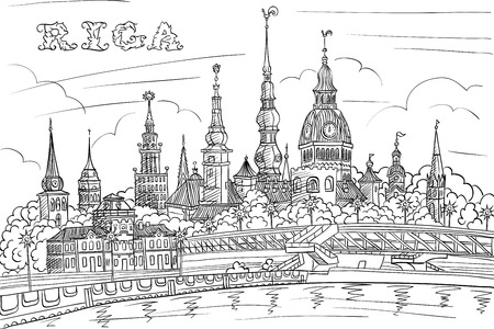 old hand: Vector Black and white hand drawing, sketch of Old Town and River Daugava, Riga, Latvia