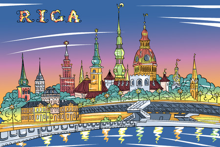 old church: Vector sketch of Old Town and River Daugava at night, Riga Cathedral, Saint Peter church, Cathedral Basilica of Saint James and Riga castle in the background, Riga, Latvia Illustration