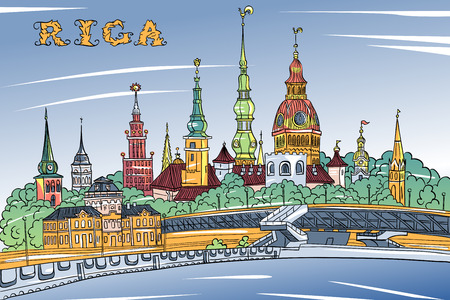 Vector sketch of Old Town and River Daugava, Riga Cathedral, Saint Peter church, Cathedral Basilica of Saint James and Riga castle in the background, Riga, Latvia