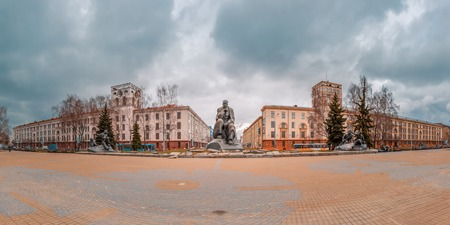 poems: Monument to folk poet and founder of the classic Belarusian literature Yakub Kolas and figures from his poems at Yakub Kolas Square In Minsk, Belarus
