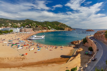 Aerial view of Gran Platja beach and Badia de Tossa bay in Tossa de Mar on the Costa Brava, Catalunya, Spain