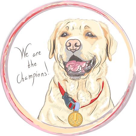 Smiling happy yellow dog breed Labrador Retriever champion Ilustração