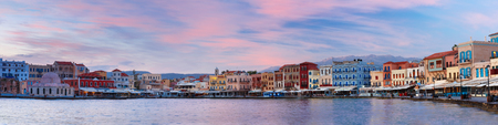 morning blue hour: Panorama of Venetian quay with Kucuk Hasan Pasha Mosque at sunrise, Chania, Crete, Greece