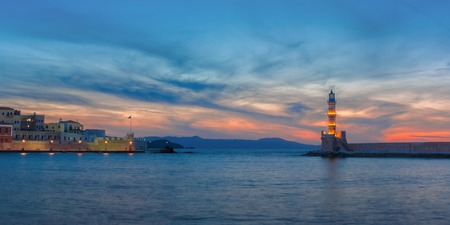 morning blue hour: Panorama venetian harbour waterfront and Lighthouse in old harbour Stock Photo
