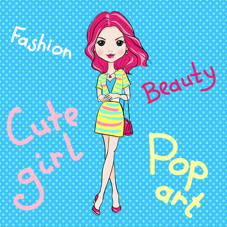 fashionable girl: Pop Art cute beautiful fashionable girl in skirts with bags. T-shirt Graphics. Girl print.
