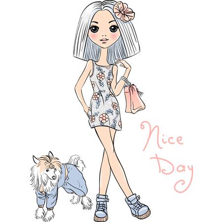 cute dog: Cute beautiful girl in dress with dog. T-shirt Graphics. Girl print.