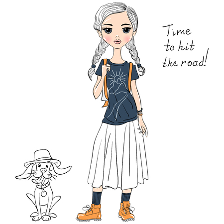 travelling: Lovely fashion girl traveler wih dog in sketch-style. T-shirt Graphics. Girl print.