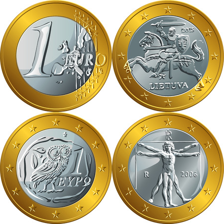 gold coin: Set gold and silver money gold coin euro Illustration