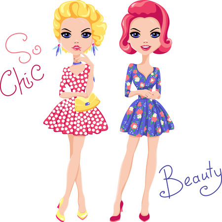 prettiness: Cute beautiful Pop Art girls in dress. T-shirt Graphics. Girl print.