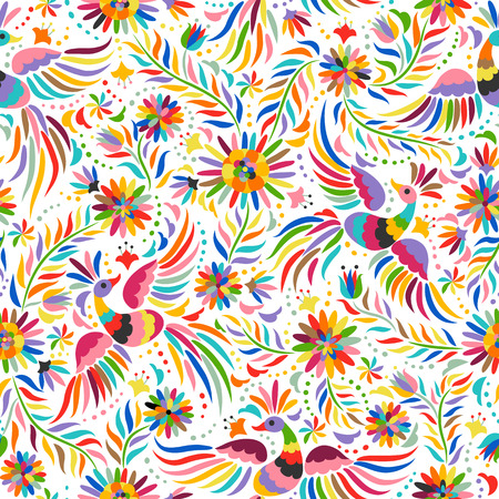 Mexican embroidery seamless pattern. Colorful and ornate ethnic pattern. Birds and flowers light background. Floral background with bright ethnic ornament. 일러스트