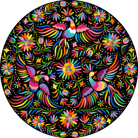 Mexican embroidery round pattern. Colorful and ornate ethnic pattern. Birds and flowers on the black background. Floral background with bright ethnic ornament. Illustration