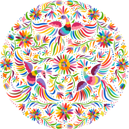 mexicans: Mexican embroidery round pattern. Colorful and ornate ethnic pattern. Birds and flowers light background. Floral background with bright ethnic ornament.