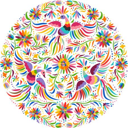 Motif rond de broderie mexicaine. Motif ethnique coloré et fleuri. Oiseaux et fleurs fond clair. Fond floral avec ornement ethnique lumineux.