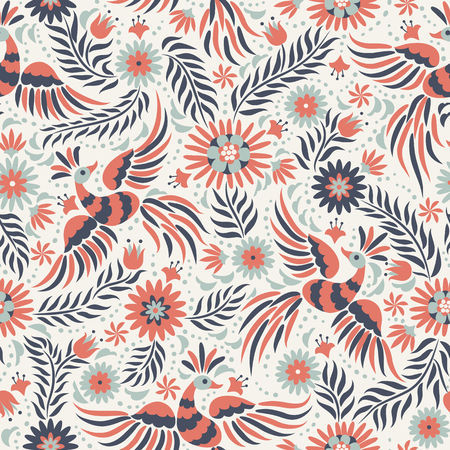 Mexican embroidery seamless pattern. Colorful and ornate ethnic pattern. Red and black Birds and flowers on the light background. Floral background with bright ethnic ornament. Illustration