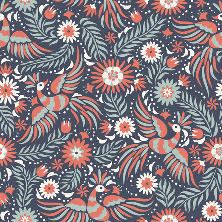 Mexican embroidery seamless pattern. Colorful and ornate ethnic pattern. Birds and flowers on the dark red and black background. Floral background with bright ethnic ornament.