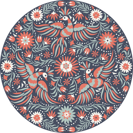 mexicans: Mexican embroidery round pattern. Red and back ornate ethnic pattern. Birds and flowers dark background. Floral background with bright ethnic ornament.
