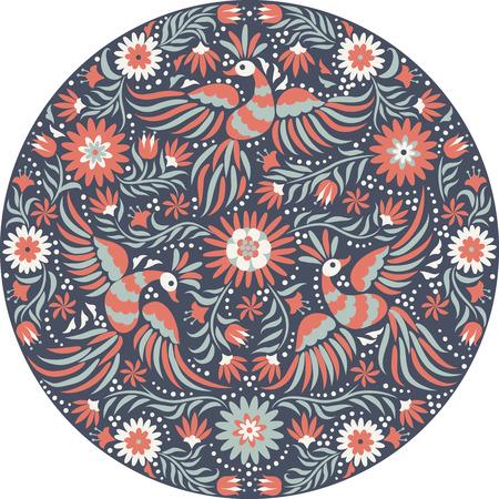 Mexican okrągły wzór haftu. Czerwony iz tyłu ozdobny wzór etnicznych. Ptaki i kwiaty na ciemnym tle. Floral tła z jasnym ornamentem etnicznej. Ilustracje wektorowe